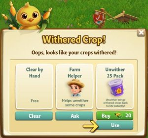 An example of paying to restore withered crops in Farmville 2.